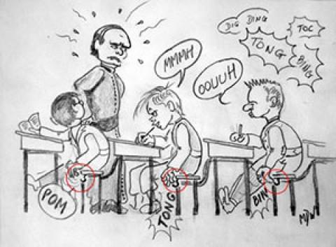 La division des petits avant l'arrivée du Père Gogniat
