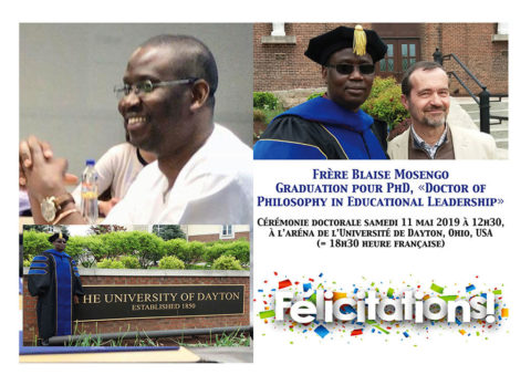 Frère Blaise Mosengo Graduation « Doctor of Philosophy in Educational Leadership »
